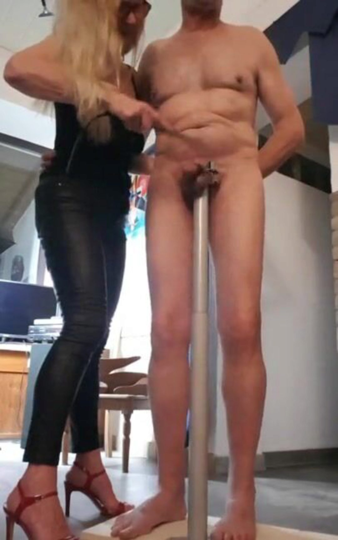 Sexy suction cup dildo threesome gif